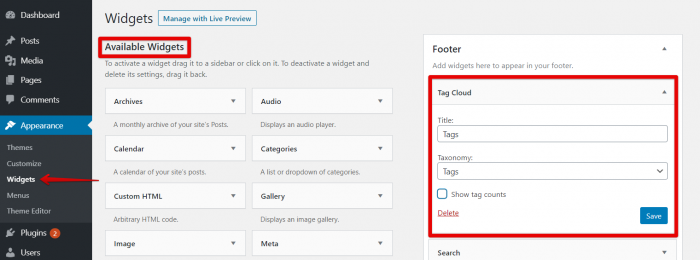 Add Tags Cloud in WordPress