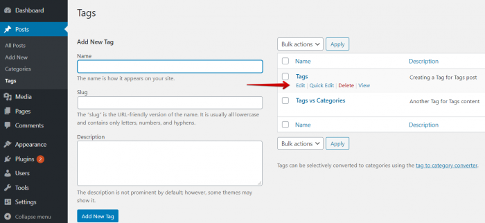 Edit Tags in WordPress
