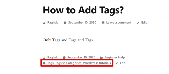 Tags Shown in WordPress site